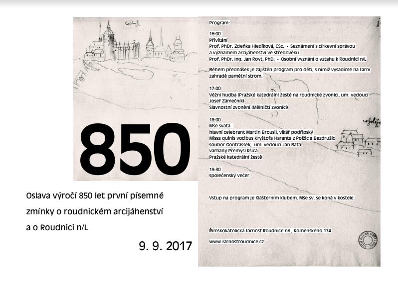 Oslava 850. výročí první zmínky o roudnickém arcijáhenství a Roudnici n. L.