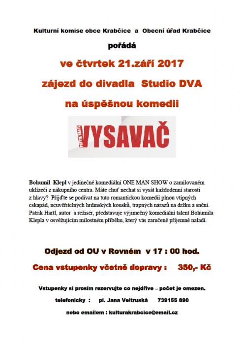Zájezd do divadla na komedii Vysavač @ Krabčice, Rovné, před OÚ | Krabčice | Ústecký kraj | Česko